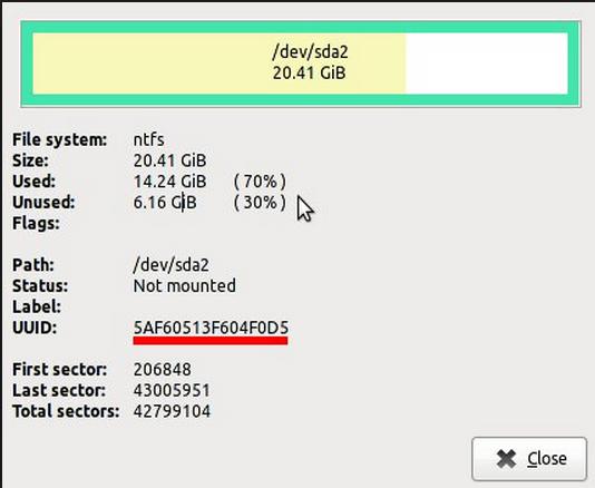 Gparted show NTFS UUID Info