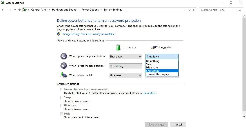 Power Option Settings