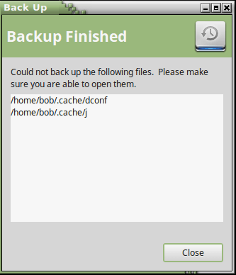 deja backup finished screen